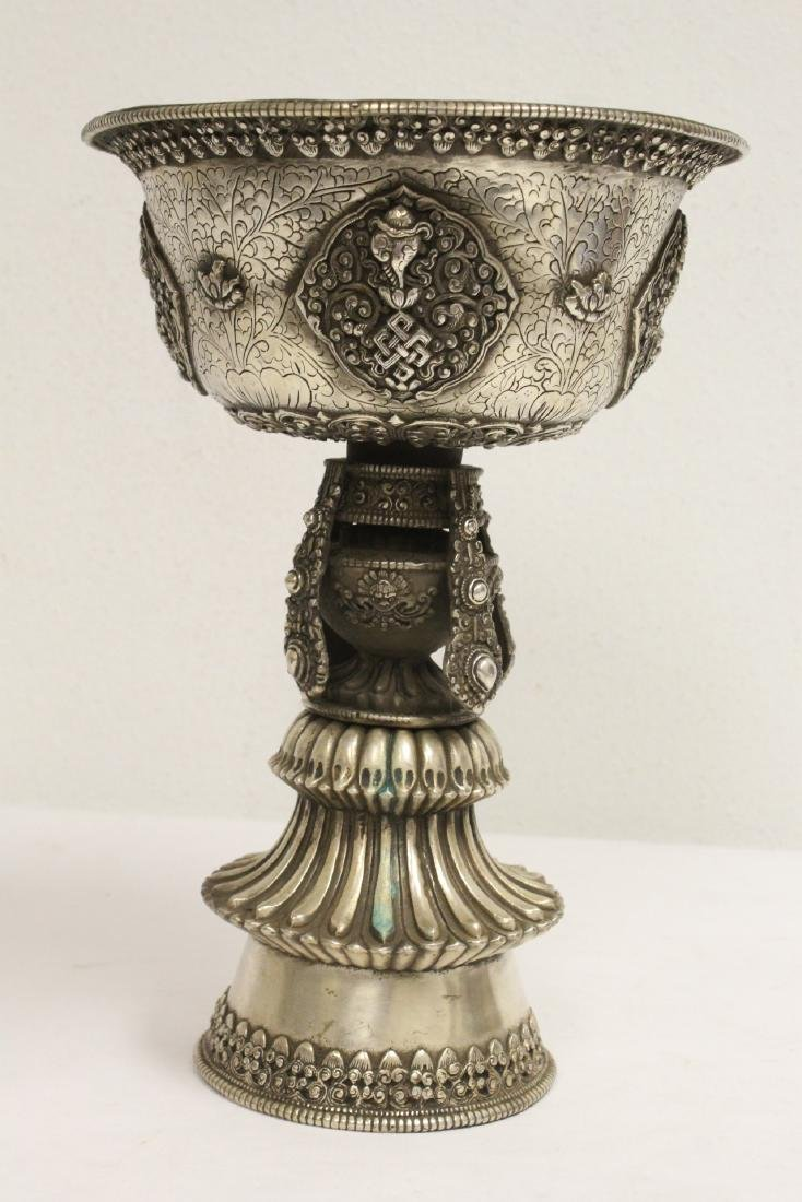 Chinese silver on bronze large pedestal bowl - 2