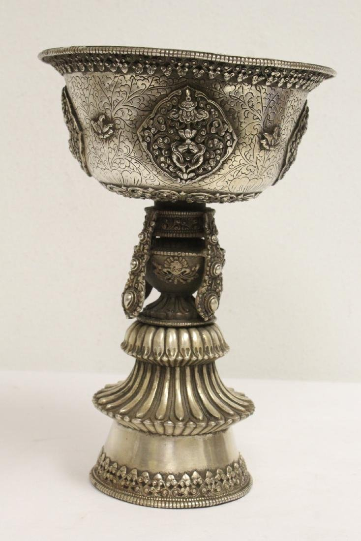 Chinese silver on bronze large pedestal bowl - 4