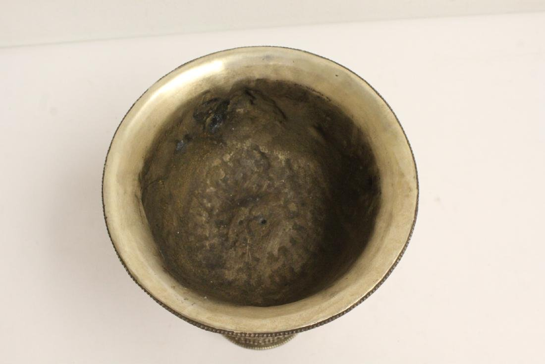 Chinese silver on bronze large pedestal bowl - 5