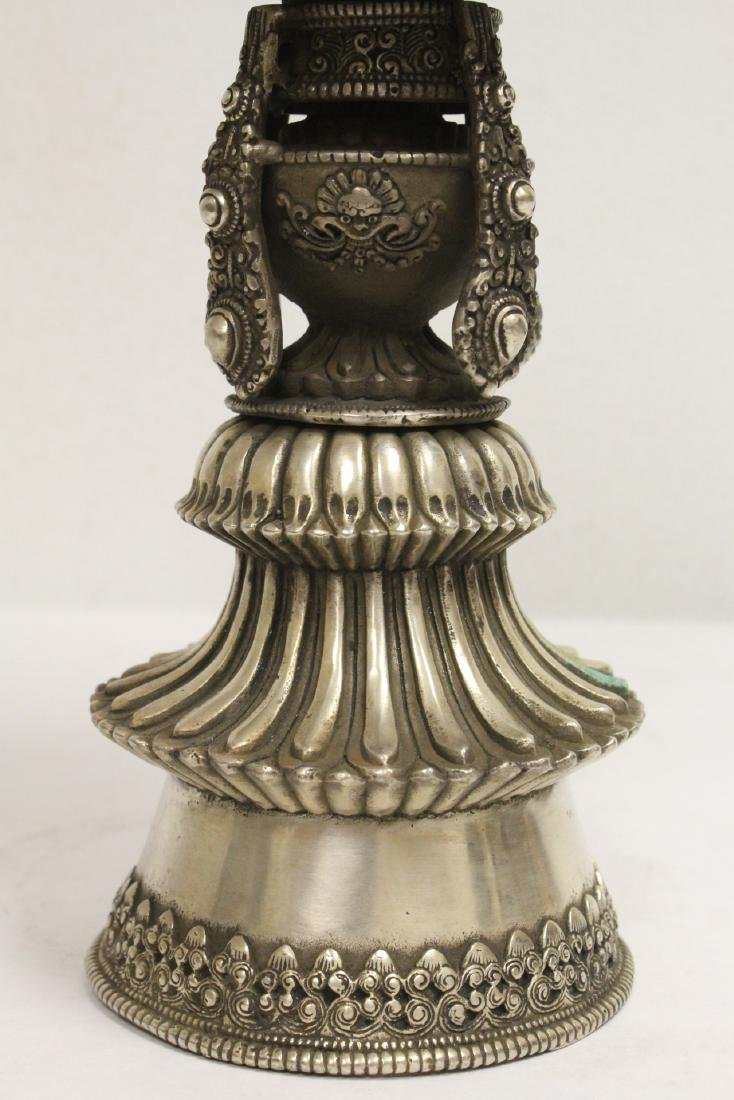 Chinese silver on bronze large pedestal bowl - 7