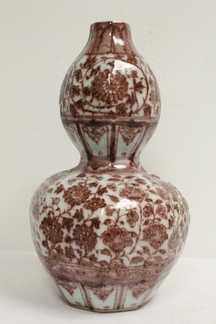 Chinese large red and white gourd shape vase