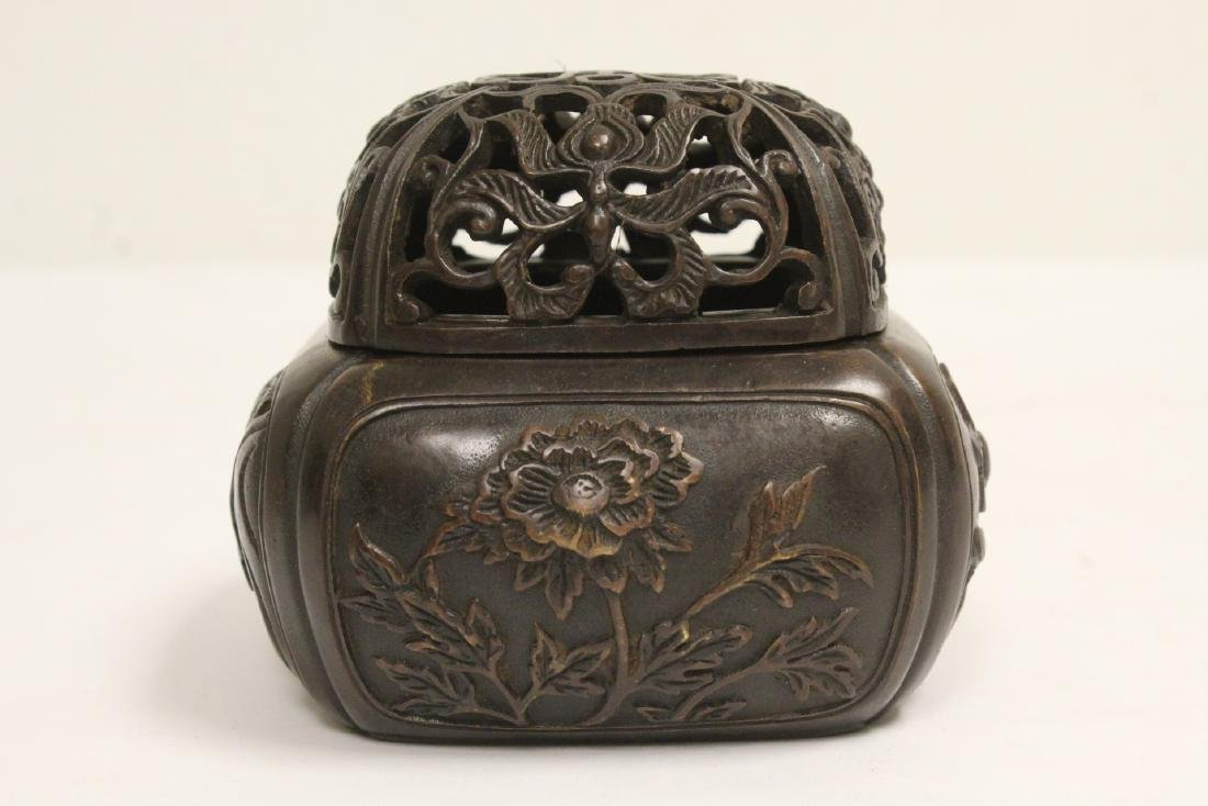 Chinese bronze covered censer