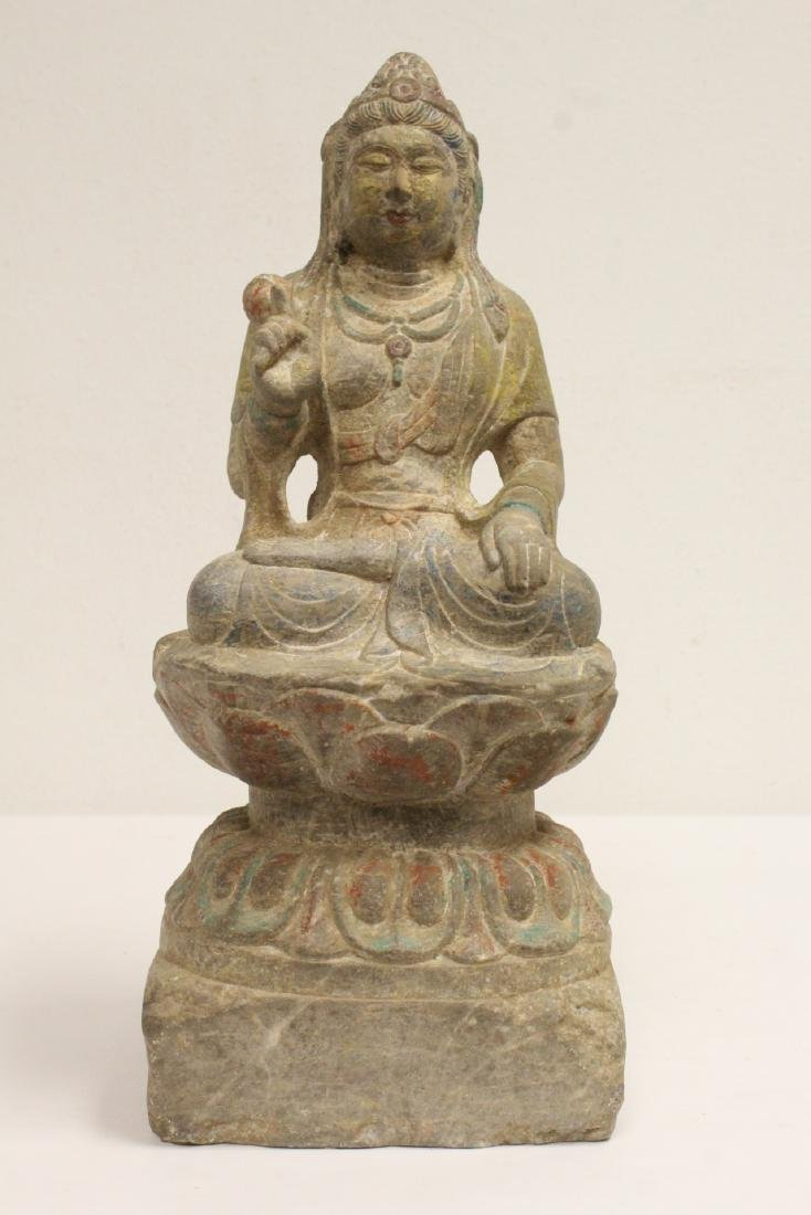 Chinese stone carved seated Buddha