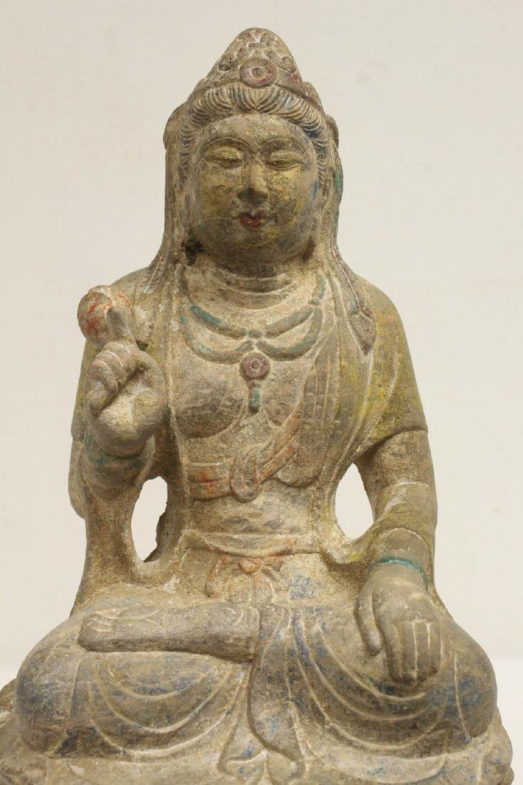 Chinese stone carved seated Buddha - 3