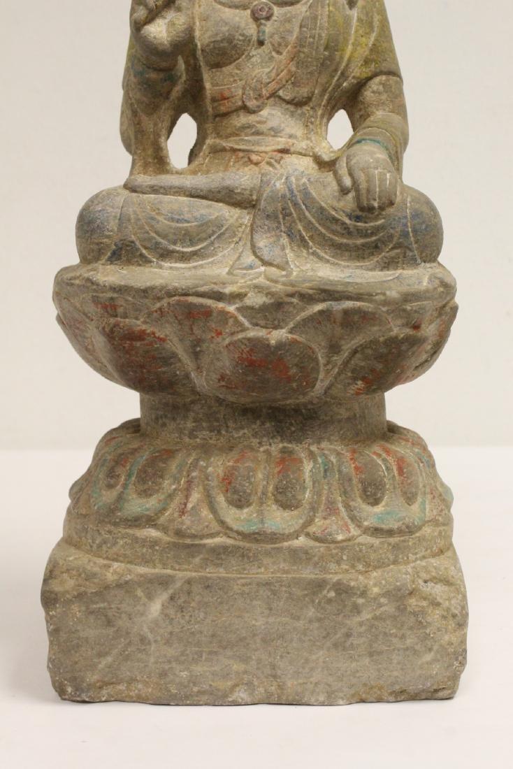 Chinese stone carved seated Buddha - 4