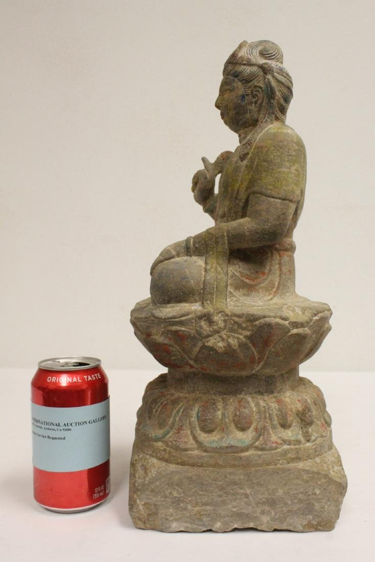 Chinese stone carved seated Buddha - 5