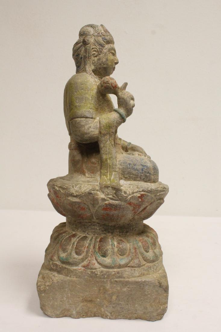 Chinese stone carved seated Buddha - 7