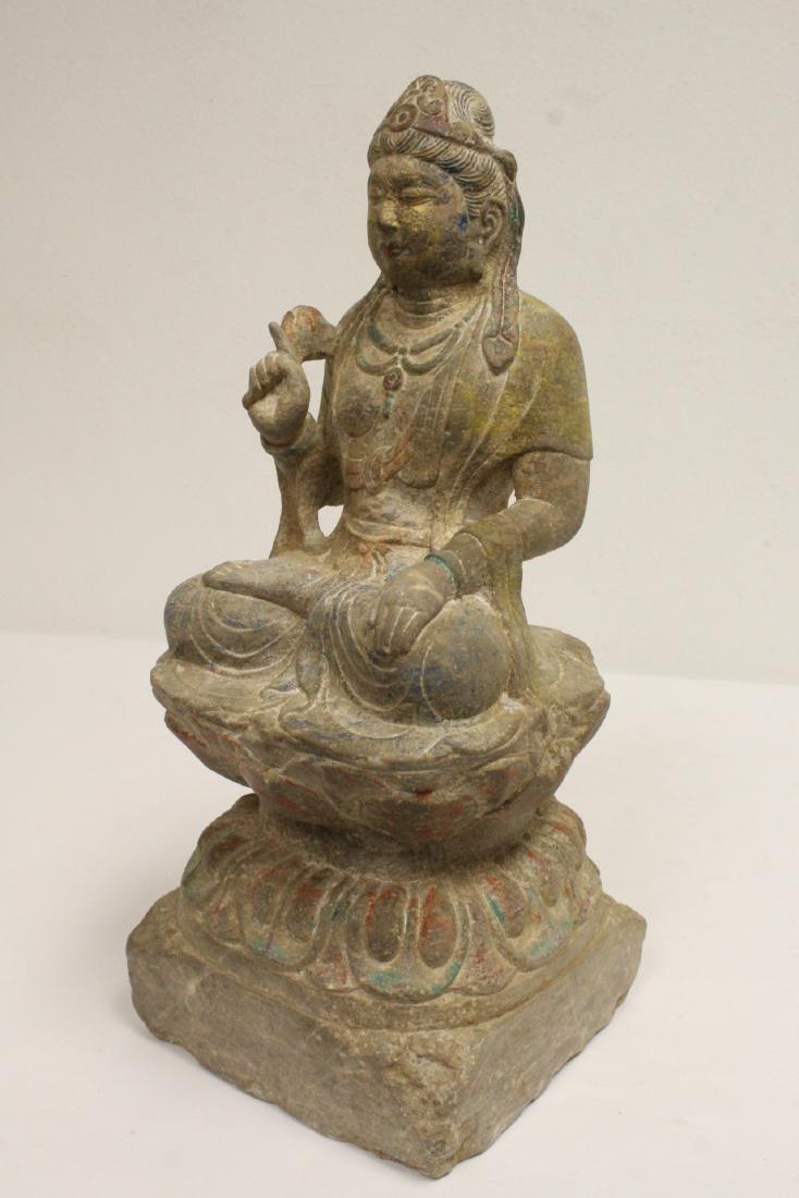 Chinese stone carved seated Buddha - 8