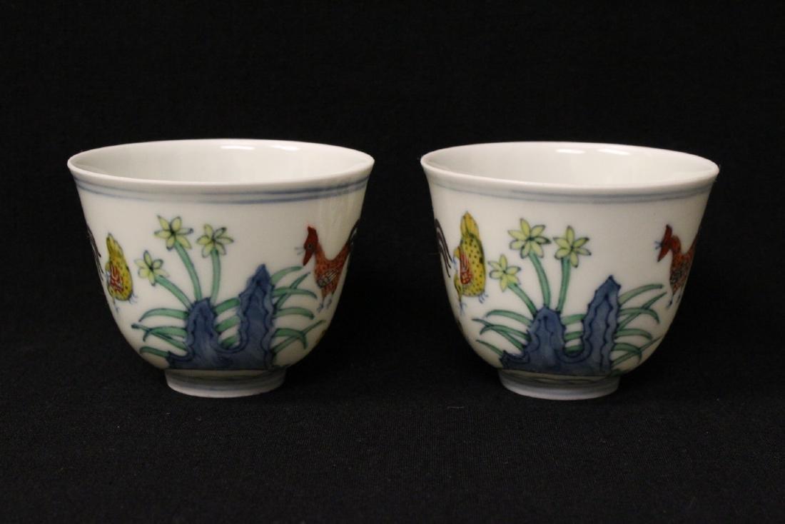 2 Chinese wucai tea bowls