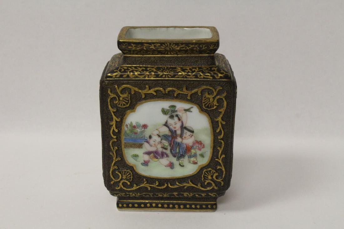 Chinese famille rose porcelain square vase