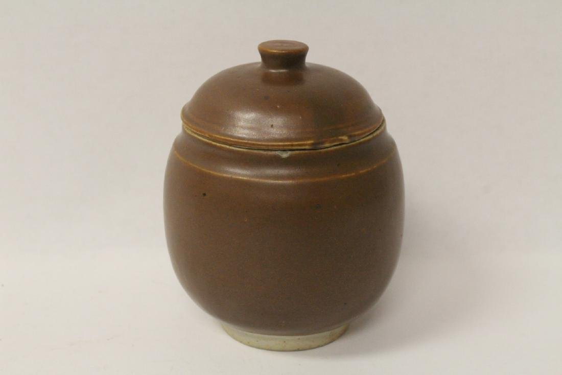 Chinese vintage brown glazed covered jar