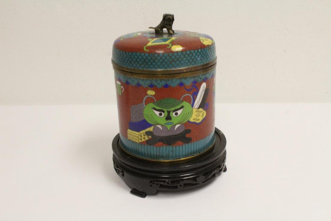 Chinese vintage cloisonne covered jar