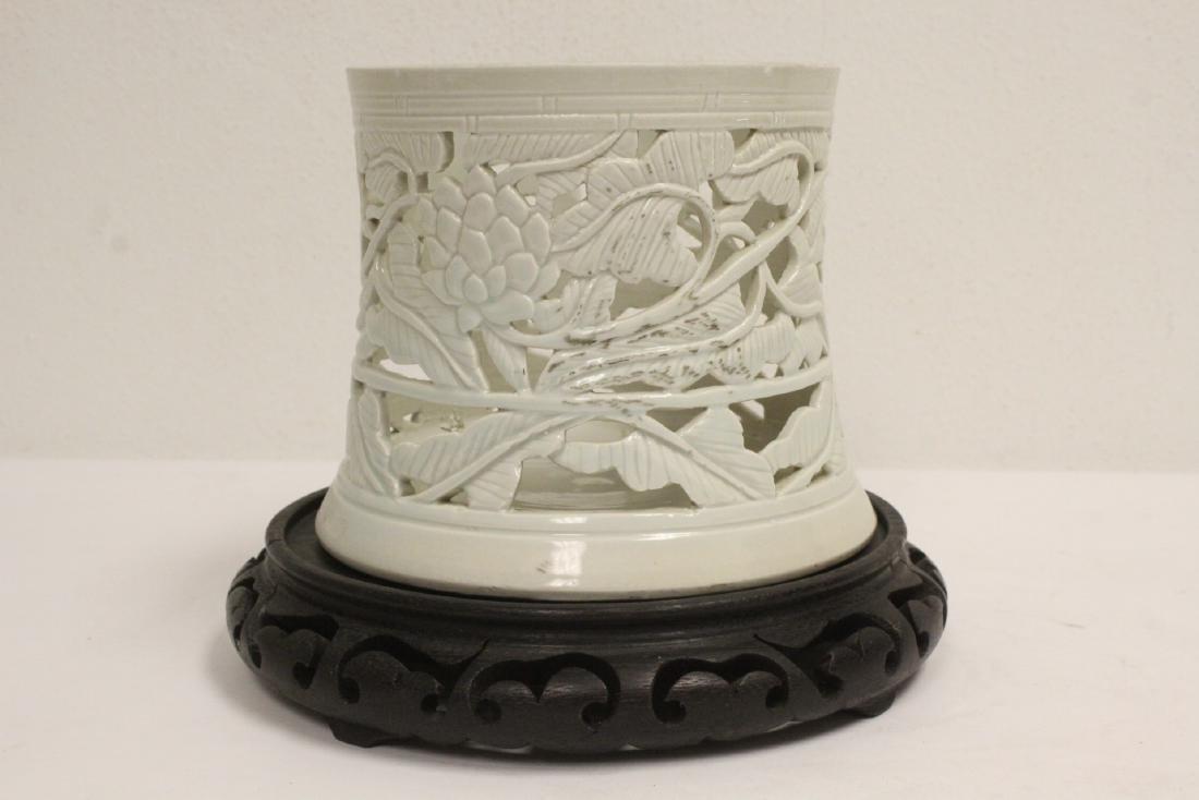 White porcelain brush holder