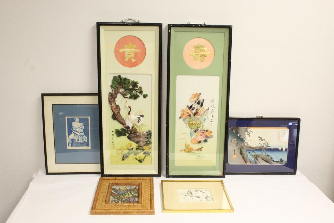 2 Chinese framed shell art, and 4 Japanese prints