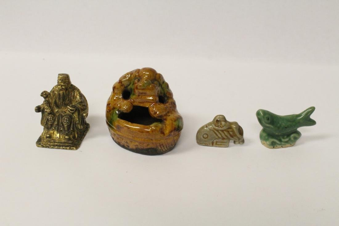 3 antique pottery items and a brass figure
