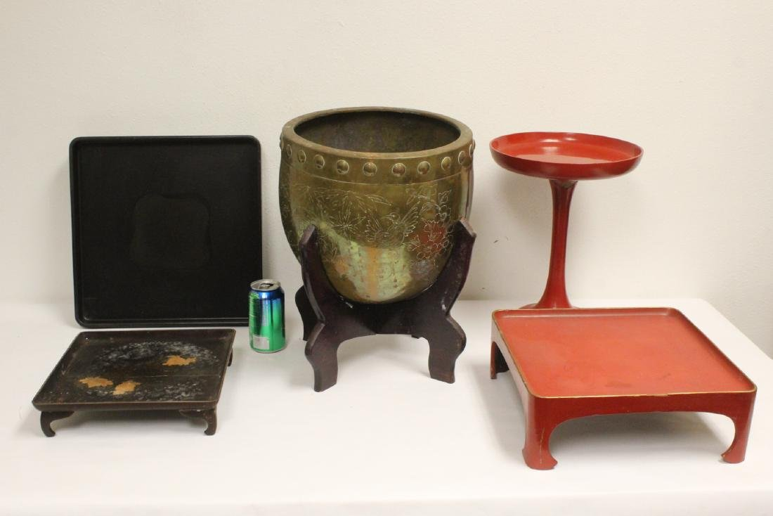 4 Japanese stands & a Japanese antique brass planter