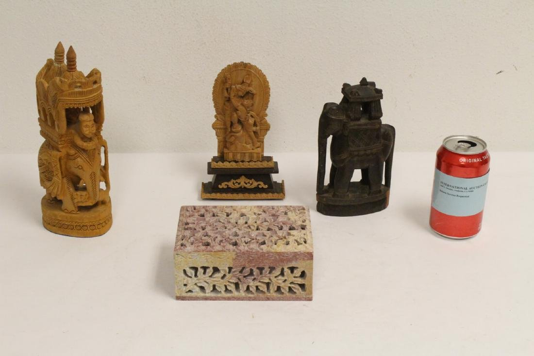 3 wood carvings, and a shoushan stone box