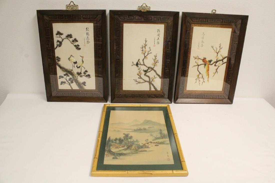 3 framed shell decorated panels, and a framed w/c