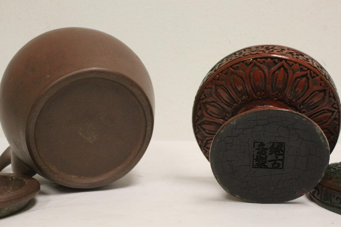 Yixing teapot, cinnabar covered bowl, 2 vases - 10