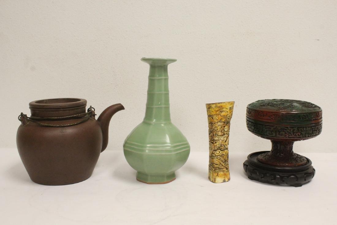 Yixing teapot, cinnabar covered bowl, 2 vases