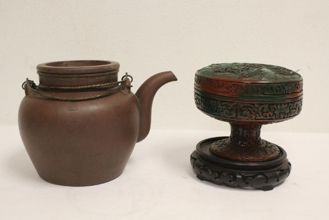 Yixing teapot, cinnabar covered bowl, 2 vases - 2