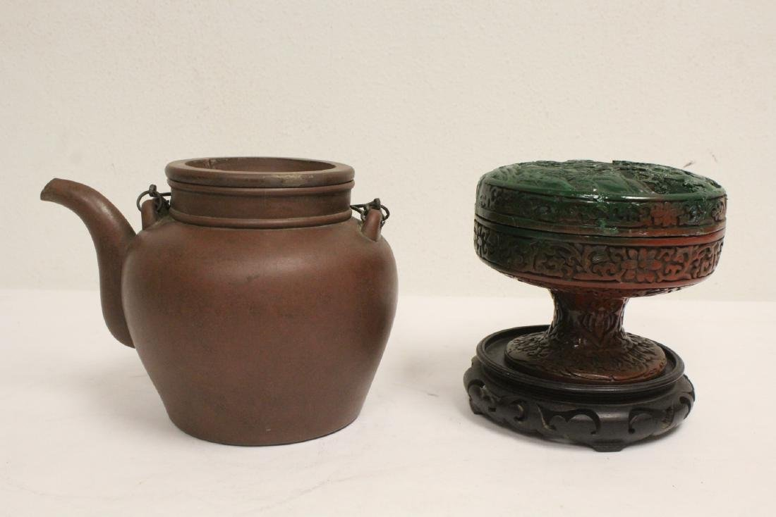 Yixing teapot, cinnabar covered bowl, 2 vases - 3