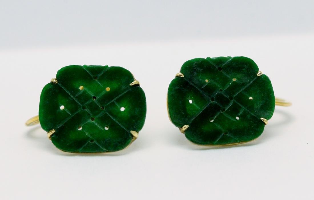 Pair 14K Y/G jadeite earrings