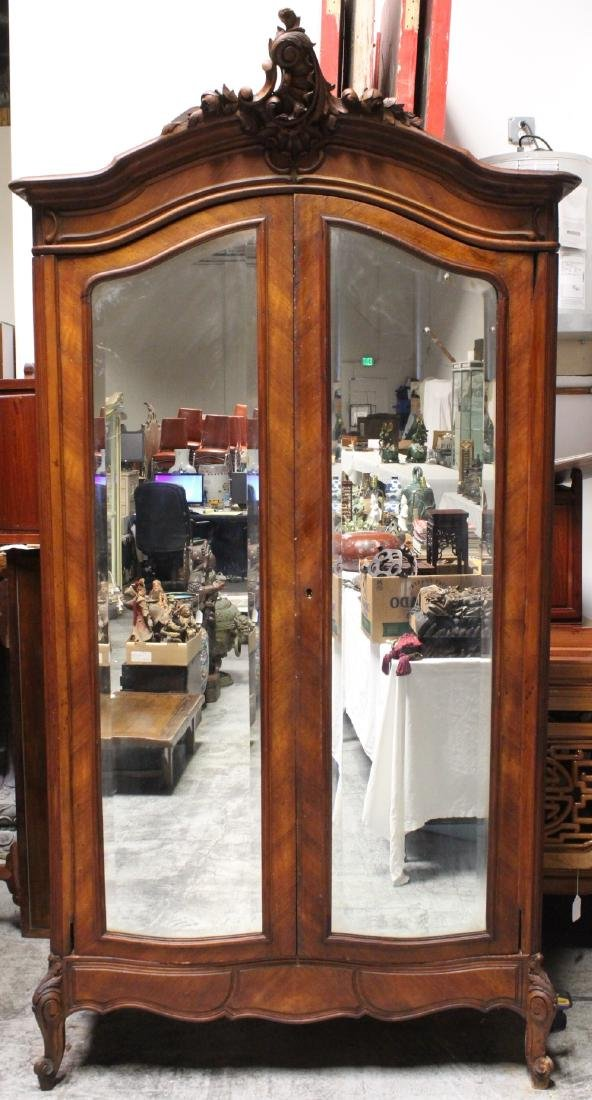 19th c. French walnut armoire w/ beveled mirror