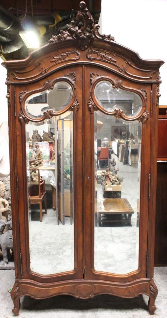 19th c. French walnut armoire w/ beveled mirror