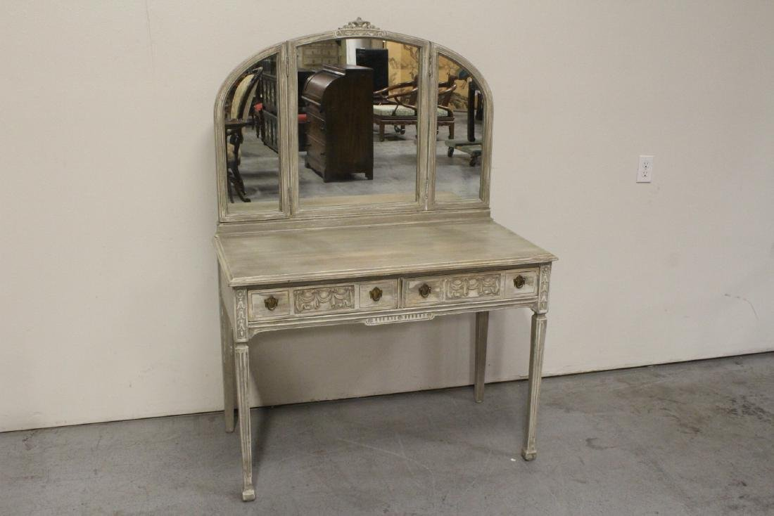 French provincial vanity with folding mirror