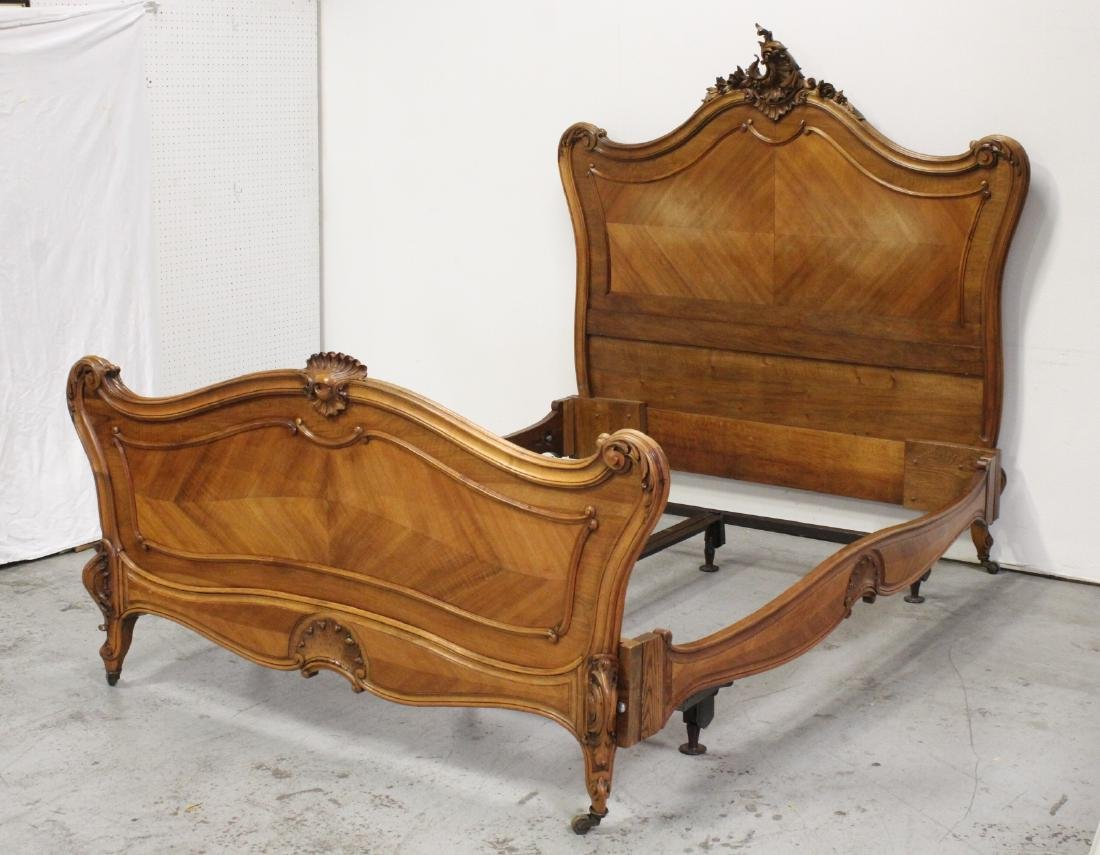 19th c. French provincial walnut queen size bed
