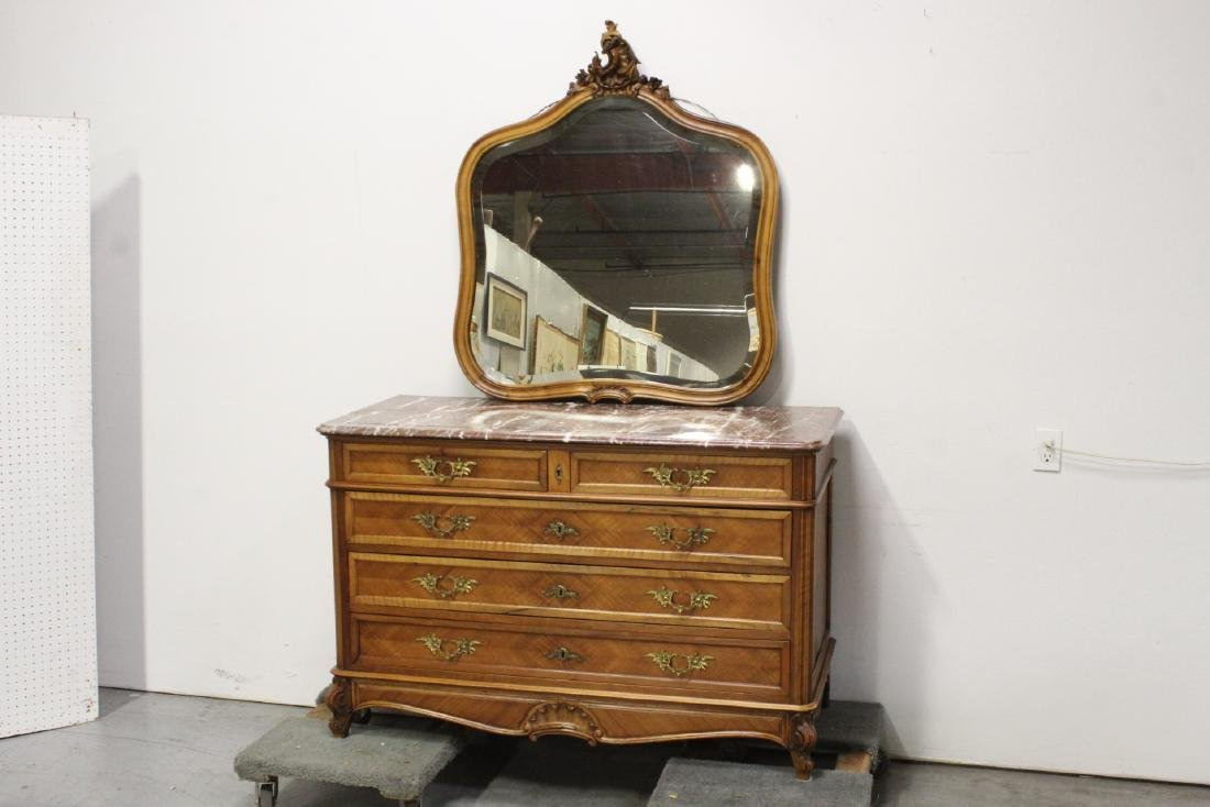 19th c. French marble top provincial dresser w/ mirror