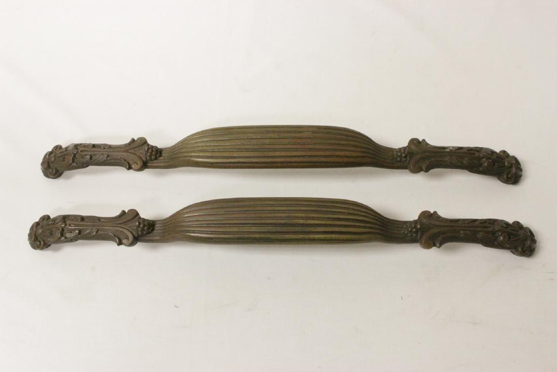 Pair very heavy antique door handles