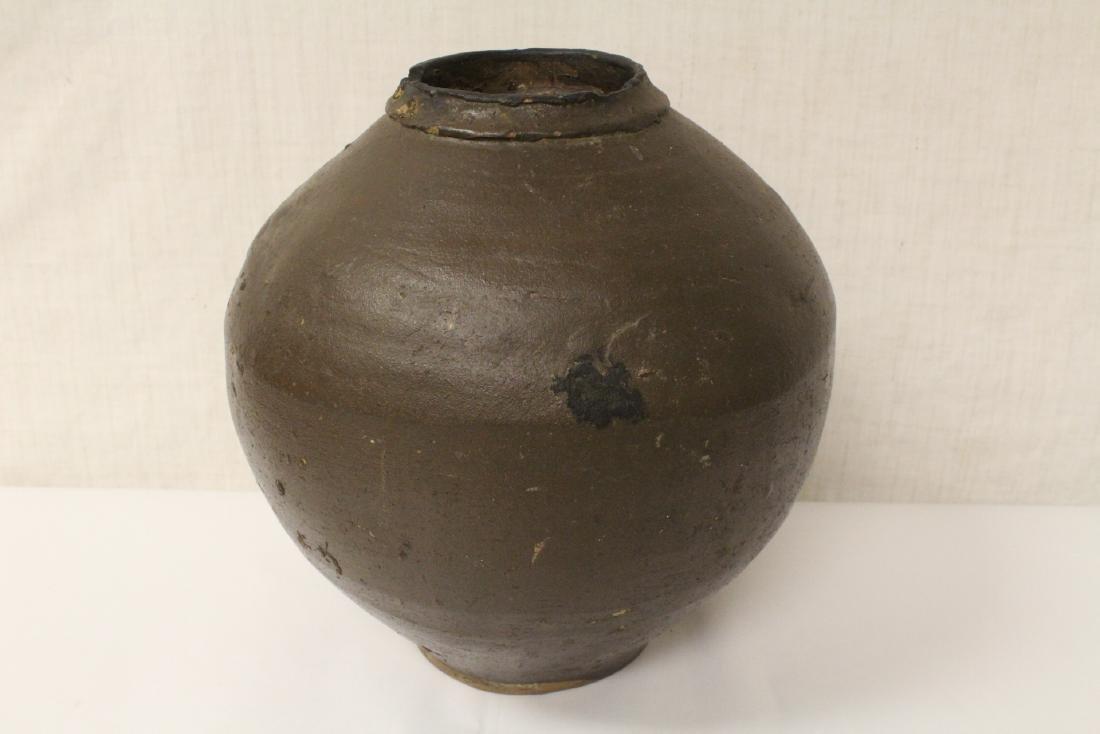 Chinese vintage brown glazed jar