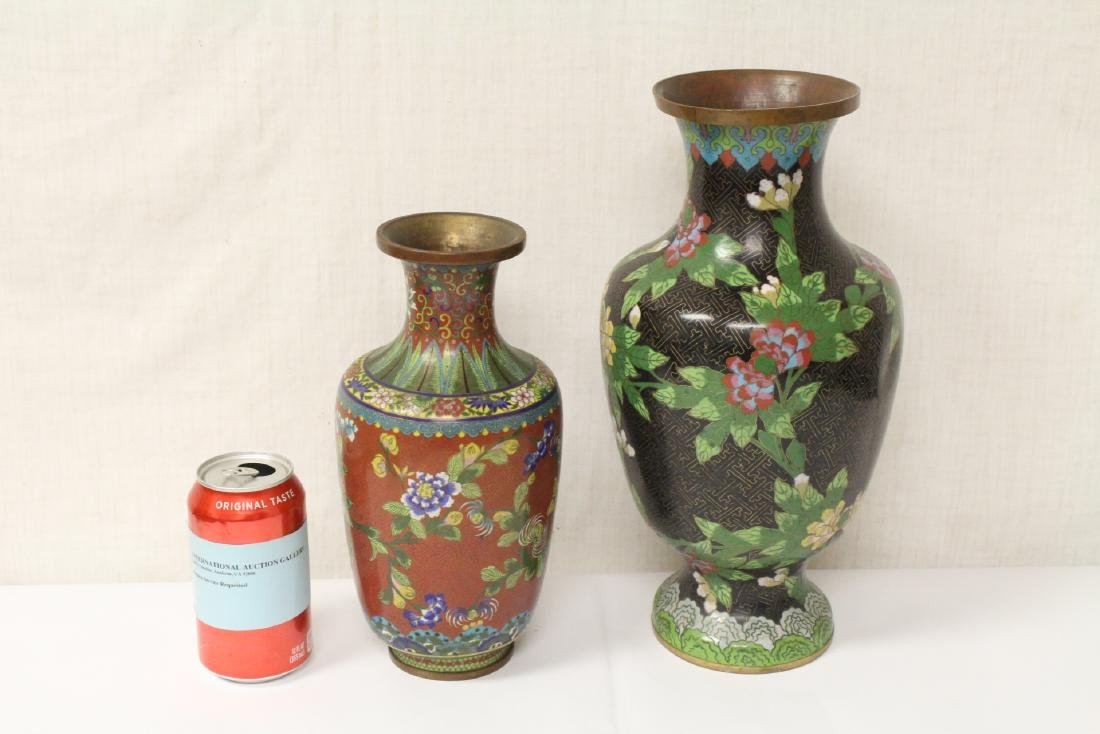2 Chinese early 20th century cloisonne vases