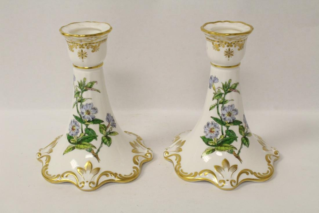 Pair porcelain candle holders by Spode