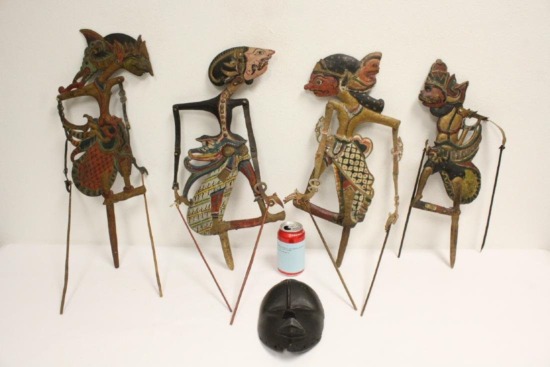 4 antique Thai puppets and an African wood mask