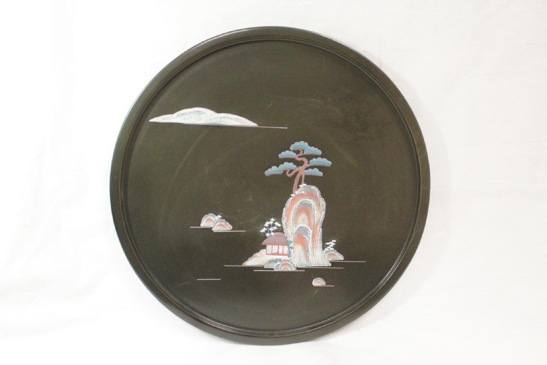 Rare Okinawa lacquer tray with enamel decoration