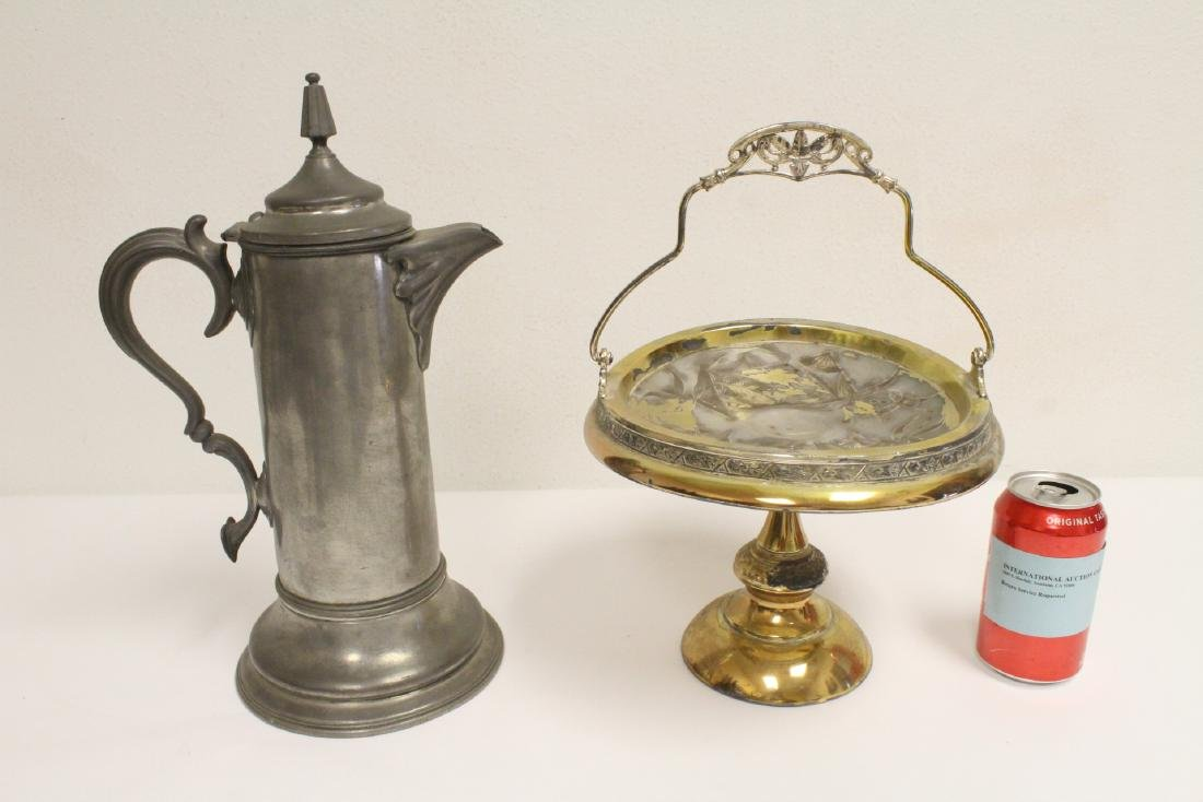 Victorian s.p. cake plate, and an antique coffee server