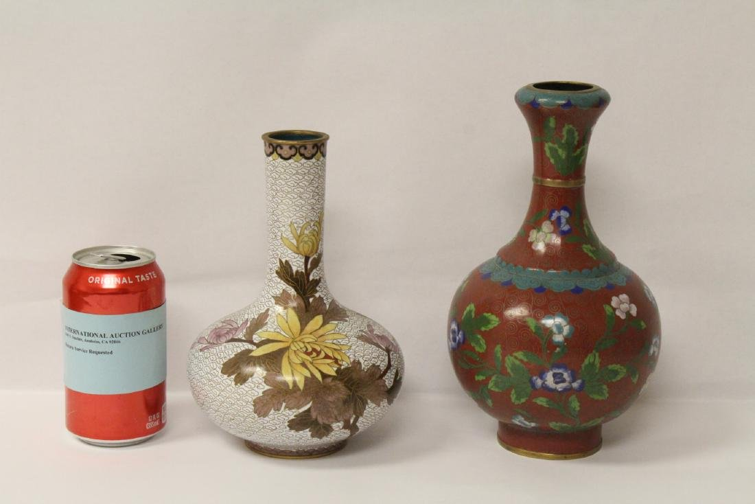 2 Chinese cloisonne vases