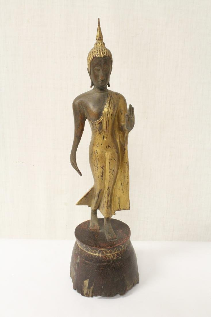 Thailand antique wood carved standing Buddha