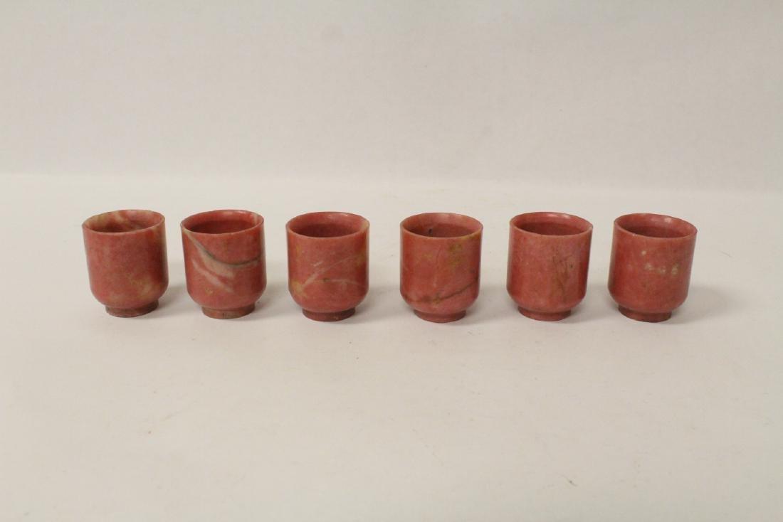 6 jasper stone carved wine cups