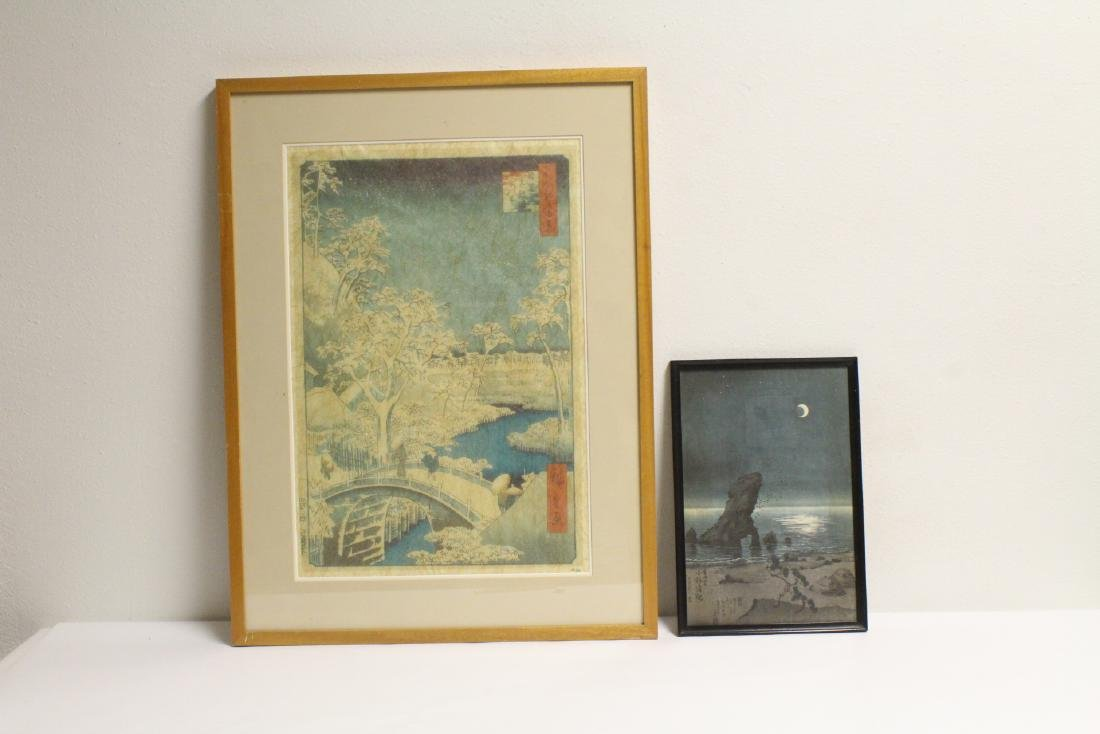 2 Japanese woodblock prints, one by Hiroshige