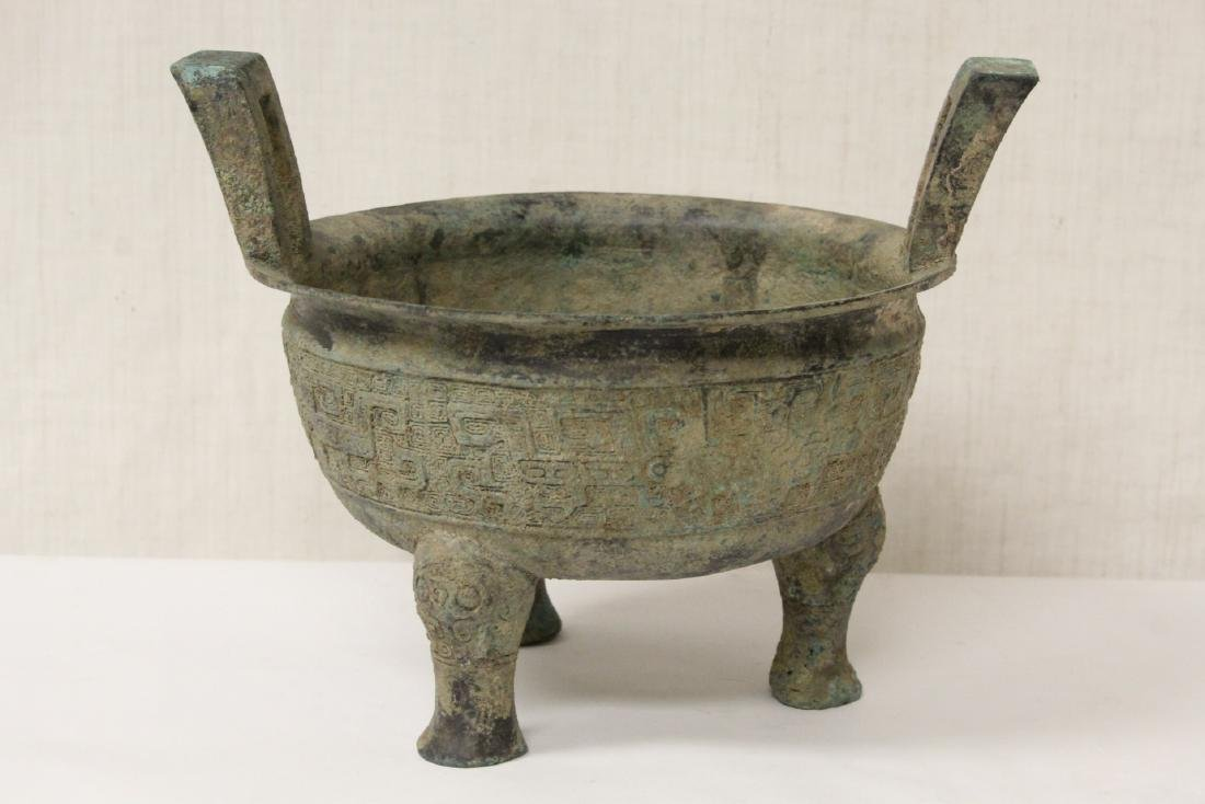 Chinese archaic style handled 3 feet ding