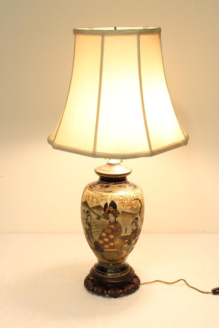 Antique Japanese satsuma vase, made as lamp