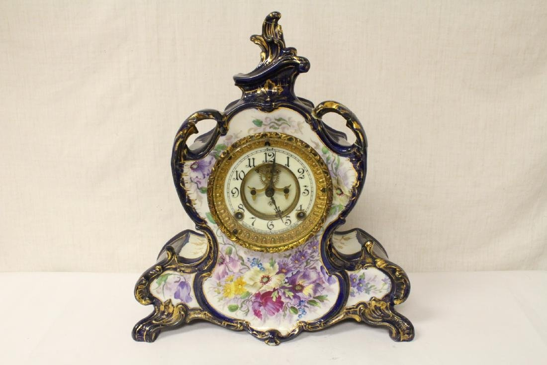 A beautiful porcelain Ansonia table clock