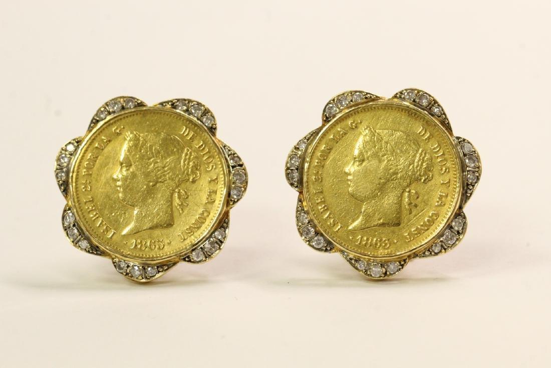 Pair 18K Y/G gold coin diamond earrings