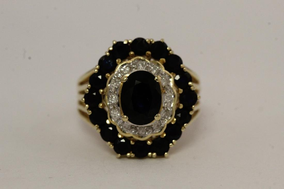 14K Y/G sapphire diamond ring