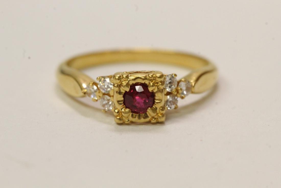 14K Y/G ruby diamond ring, center ruby wt. approx.