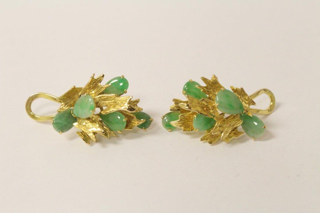 Pair 14K jadeite earrings set with 10 apple green